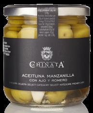 Manzanilla-Olive mit Knoblauch und Rosmarin La Chinata