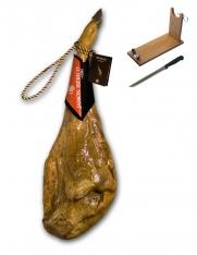 Zertifizierter Pata Negra Schinken aus Futtermast Revisan + Schinkenhalter + Messer