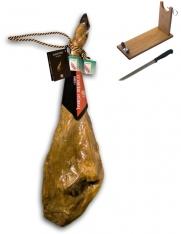 Pata Negra Schinken aus Wildpflanzenmast Guijuelo Revisan + Schinkenhalter + Messer