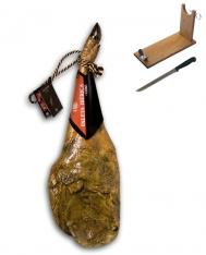 Zertifizierter Pata Negra Schinken aus Wildpflanzenmast Revisan (Vorderschinken) + Schinkenhalter + Messer