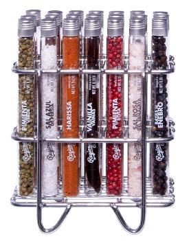 set aus 21 glasr hren mit premium salz gew rzen und pflanzen botanicals im edelstahl gestell. Black Bedroom Furniture Sets. Home Design Ideas