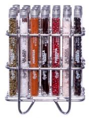 Set aus 21 Glasröhren mit Premium Salz, Gewürzen und Pflanzen (Botanicals) im Edelstahl Gestell